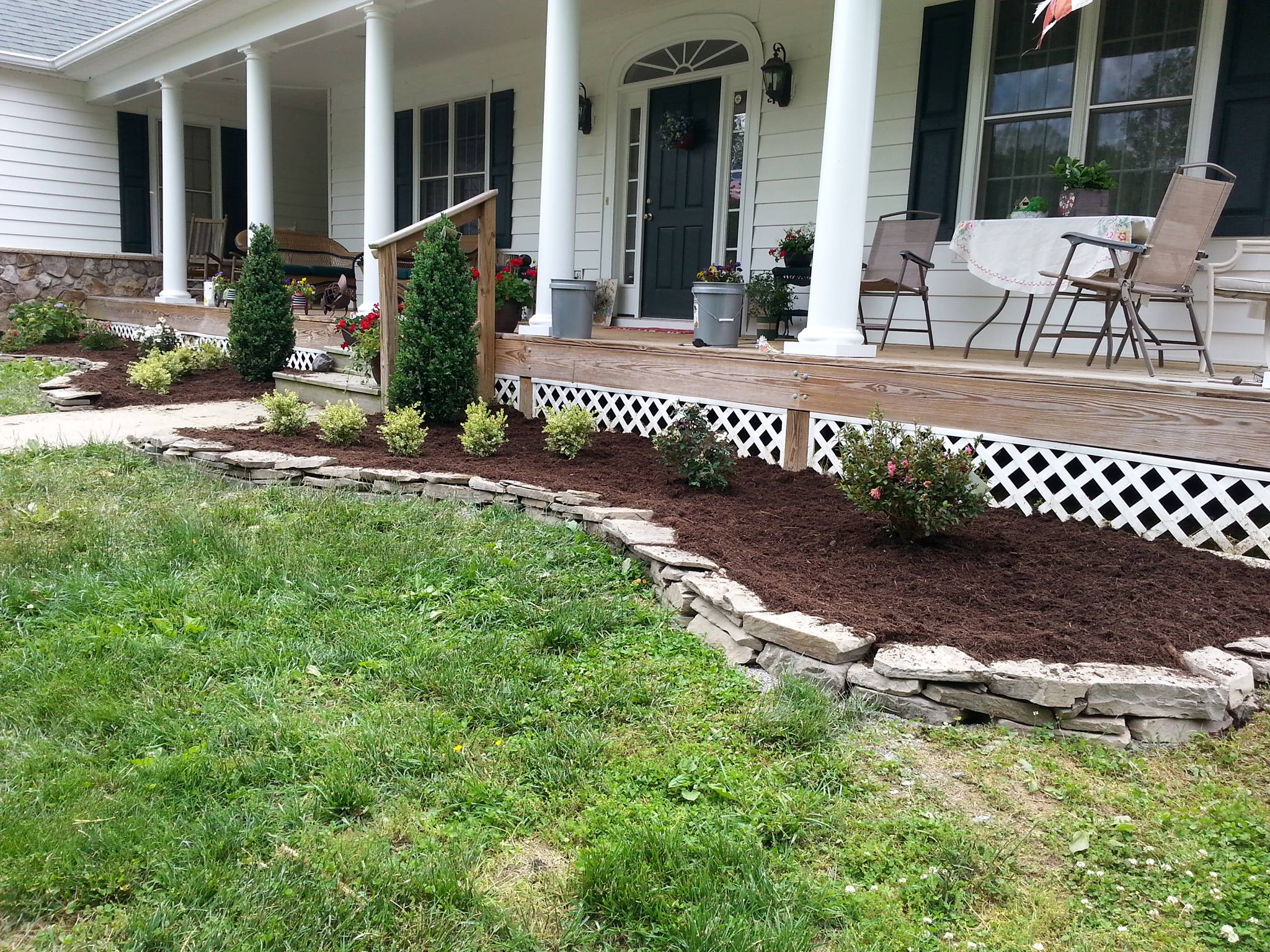 Newly installed landscape in front of a house